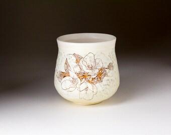 Ceramic Blossom Cup - Pottery Tea Bowl - Yunomi - Clay Juice Cup - Pottery Glass - Handleless Mug - Tumbler - Stoneware Wheel Thrown White