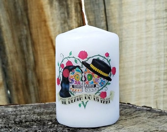 Till Death Do Us Part Day of the Dead Sugar Skull Couple 2x3 Pillar Candle