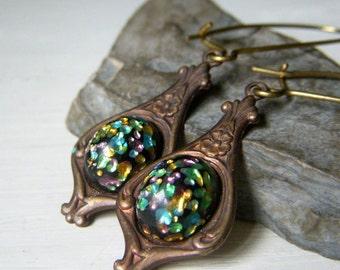 Vintage Style Earrings, Multi Color Japanese Art Glass Cabochon Earrings, Brass Earrings, Vintage Cherry Brand, Rainbow Black Glass Earrings