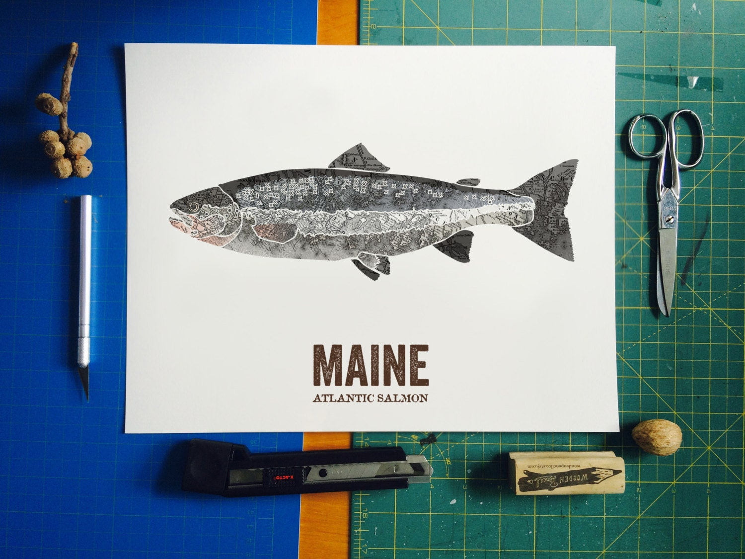 Maine state fish nature art outdoor art vintage map art for Maine state fish