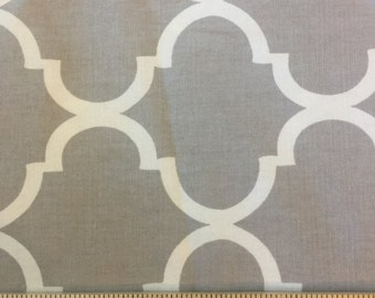 Fabric Destash gray and white quatrefoil upholstery weight fabric 3 yards 57 wide