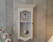 Wall clock, Shabby Chic, Pendulum Wall Clock, Quartz movement, Shabby Chic decor