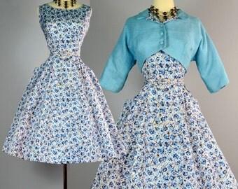 Vintage 50s Party Dress & Jacket ~ 1950s Floral Taffeta Set ~ Linen Bolero ~ Full Skirt Sundress