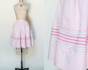 1960s Striped Skirt --- Vintage Full Pleated Skirt