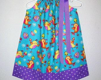 Easter Dress Pillowcase Dress Easter Chicks Dress with Chicks Easter Eggs Dress baby dresses toddler dresses girls dresses Spring Dresses