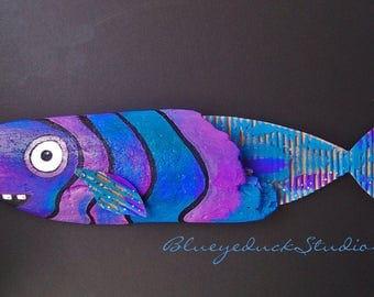 Purple Whale, Wild Fish Art, Hand painted, Driftwood, Folk Art, painting, Beach, Wood, Coastal, wall sculpture, funky fishy, sea, SALE