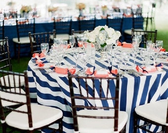 "Navy Blue Satin 2"" Wide Striped Tablecloth, Wedding, Nautical, Cape Cod Blue White"
