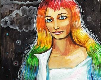 Rainbow Hair - print
