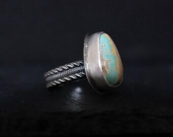 Natural Royston Ribbon Turquoise Sterling Silver Ring | Size 7.5 | Nevada  Women's Modern Minimalist Handmade | Gugma Jewelry Women's