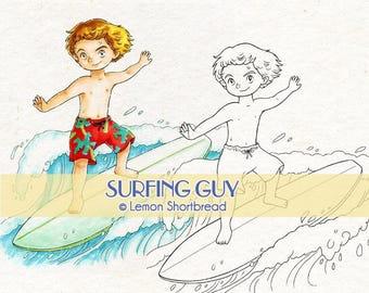 Digital Stamp Surfing Guy, Digi Download Beach Summer Sports, Surfer Boy, Cartoon Clip Art, Coloring Page, Scrapbooking Supplies