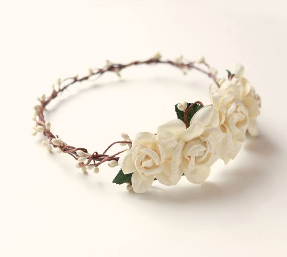 Rustic bridal head piece, Wedding hair accessory, Woodland wedding crown, Cream floral crown