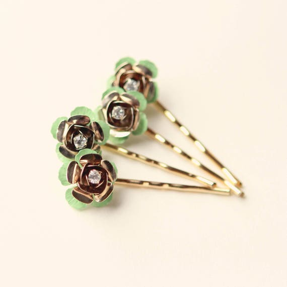 Gold and mint flowers, Floral hair pin set, Gold rhinestone flower clips, Mint green flowers, Bobby hair pin set