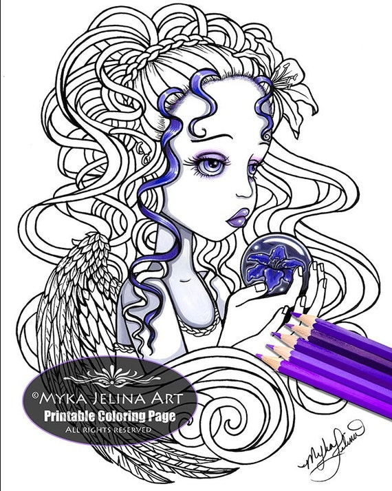 Amethyst lilly flower angel digital download coloring page for Myka jelina coloring pages