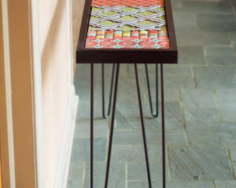 Entryway Table Console Table Mosaic Table Midcentury Modern Style Table  Narrow Table Accent Table Handmade Tile
