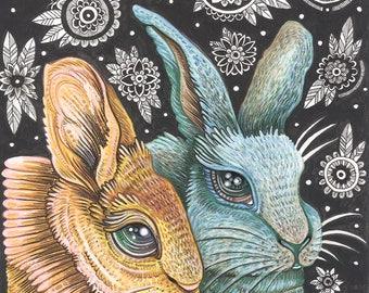 "Duo In Orange and Blue - 8 x 10"" Art Print"