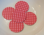 "Red and Pink Polka Dot 1.5"" Sticker Set or Envelope Seal Stickers"