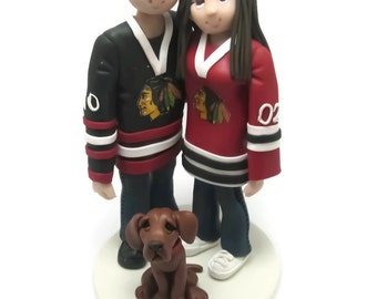 Custom wedding cake topper, Hockey fans wedding cake topper, Bride and groom cake topper, Mr and Mrs cake topper, personalized cake topper