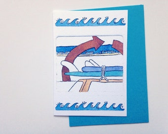 Surf Beach card - Australian surfer, Cottesloe Beach - A6 watercolour greeting card print