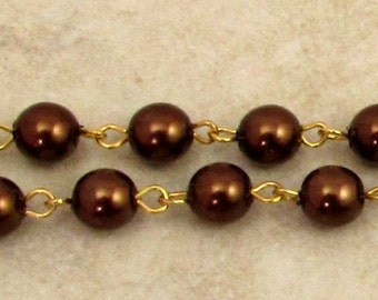 Czech Rosary Chain, 6 mm Bronze Glass Pearl, Gold Link, 1 Foot, C413