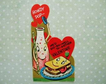 Vintage Anthropomorphic Valentine's Day Card Sandwich and Soda Pop
