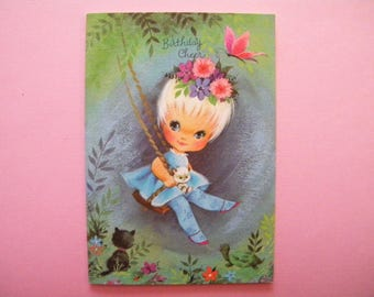 Vintage Unused Birthday Card Little Girl on Swing Butterfly Cat Big Eyed Child