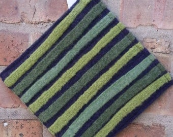 Trivet, Hot Pad or Potholder for the table or wall - Purple, shades of green-  Wool, One of a Kind, Recycled