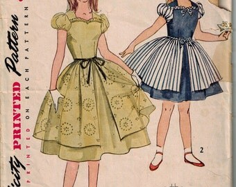 1950s Girls Dress Simplicity 3872 Sewing Pattern Vintage Size 7 Childrens Full skirted with overskirt