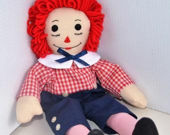 "Raggedy Andy Doll - Traditional Handmade 15"" Cloth Doll"