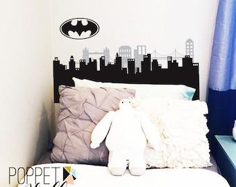 Gotham City Batman Skyline Headboard Wall Decal Set - Gotham City Batman Bedroom Nursery Buildings - CB173