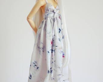 White floral print satin maxi dress for SD Delf BJD dolls