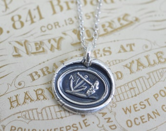 anchor pendant - anchor wax seal necklace … symbol of hope, stability - gift of hope - meaningful silver antique wax seal jewelry