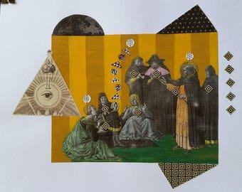 Original Collage on Paper, Medieval Alchemy Series, Original Art Work, Geometry Art, Altered Art