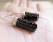 Tourmaline earrings. Sterling silver earrings with natural raw black Tourmaline crystals. Tourmaline dangles, crystal dangles, black dangle.