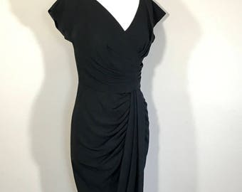 Vintage Dorothy O'Hare of California Black Cocktail Dress, Black Crape Wool Draped Dress, tuck pint  Metal Zipper Lined Bodice