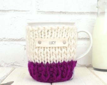 Mug and Knitted Cosy, Personalised Mug, Mug Cozy, Tea Cup Cosy, Coffee Cosy, Gift for Her, Coffee Addict Gift, Leaving Present, Best Friend