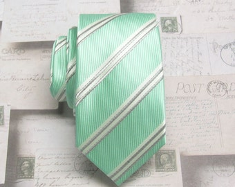Mens Ties Skinny Tie. Green Brown Ivory Stripes Skinny Necktie