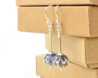 Blue Daisy Flower Earrings | Long Petal Lampwork Glass Earrings in Sterling Silver | Glass Drop Earrings | Petal Collection UK
