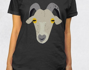 Ladies' Scoop Tee - Old Goat Shirt - Sizes XS-S-M-L-XL-2XL - Animals Goat Face Low Collar Scoopneck Womens Mom Farmer Gift Retirement Tshirt