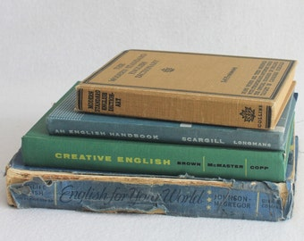 Recycled Book Journal / Choose your Rebound Journal // English Language Studies Books // Old Vintage Book by PrairiePeasant