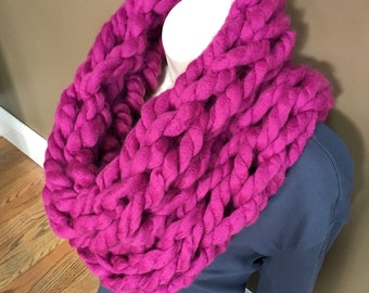 Chunky Knit Scarf - Infinity Arm Knit Chunky Scarf  Hot Pink Fuchsia Magenta color neck warmer cowl