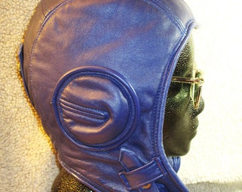 Retro Aviator Hat in Blue Lamb Leather, Soft Leather Unisex Flyers Earflap Cap