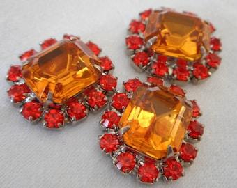 Set of 3 Orange & Red Orange Glass Rhinestone Prong set Cabochon Cabs