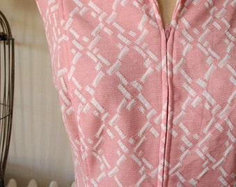 Kay Windsor | Vintage 1960's Dress Preppy MOD Pink and White Shift Dress Jacquard Knit Diamonds Sleeveless A-Line Dress with Button Tabs