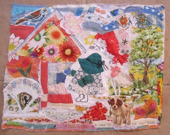 WILD FLOWERS COTTAGe GARDEN -  Sun Bonnet Sue & Dog   - 16 X 20 Folk Art Fabric Collage - Vintage Materials -  myBonny Random Scraps