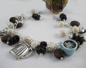 Morning Coffee Bracelet with  Coffee Seed Beads and Charms
