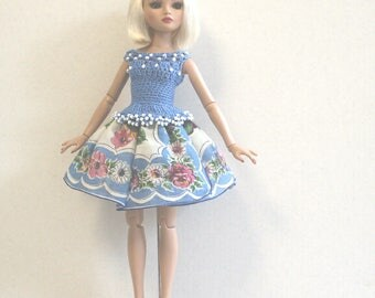 Beaded Crochet Top and Fluffy Vintage Hankie Skirt for Tonner ELLOWYNE WILDE 16 Inch Doll Size, in Blue, Pink and White
