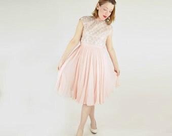 60s Blush Pink Silk Chiffon Dress with Heavily Beaded Bodice by Pat Sandler S