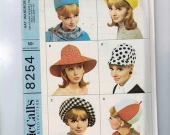 Vintage 1960s Craft Pattern McCalls 8254 Misses Hat Wardrobe Beanie Cap 1966 60s UNCUT