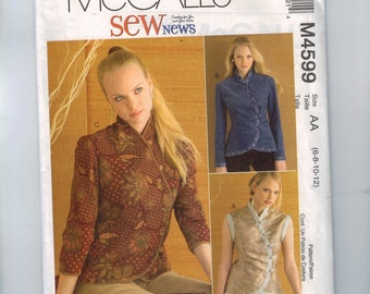 Misses Sewing Pattern McCalls M4599 Chang Mai Mandarin Chinese Style Asymmetrical Vest Jacket Top Size 6 8 10 12 UNCUT