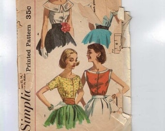 1950s Vintage Sewing Pattern Simplicity 2062 Misses Button Front Wide Boat Neck Blouse Size 16 Bust 36 50s